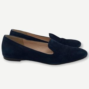 J. Crew Navy Blue Suede Smoking Slippers Loafers 6